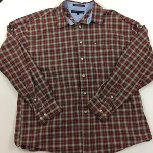 Tommy Hilfiger Retro Flannel Style Button Down Red